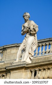 BORDEAUX, FRANCE, November 15, 2015: VENUS statue, Love goddess, the 10th of 12 statues on the top of the Grand Theatre of Bordeaux. Sculptor Pierre Francois Berruer (1733-1797).