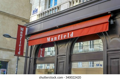 BORDEAUX, FRANCE, November 15, 2015: The MANFIELD luxury shoes, bags, clothing store in Cours Intendance street