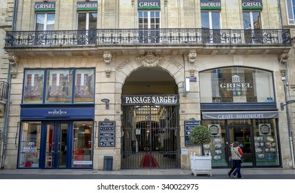 BORDEAUX, FRANCE, November 15, 2015 : PASSAGE SARGET: This mall features fashion brands, beauty shops, luxury boutiques