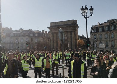 Bordeaux, France - November 17, 2018: demonstration yellow vests against increase taxes on gasoline and diesel introduced government of France