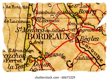 Bordeaux, France on an old torn map from 1949, isolated. Part of the old map series.