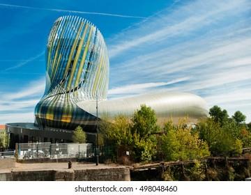BORDEAUX, FRANCE SEPTEMBER 11 2016: La Cite du Vin, the wine museum of Bordeaux near to Garonne River. Bordeaux, Aquitaine, France