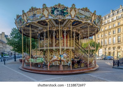 Bordeaux, France, September 2014:  Classic french carousel in a streets of Bordeaux, France