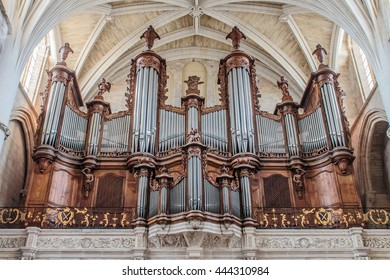 BORDEAUX, FRANCE, SEPTEMBER, 2015: Interior of Cathedral Saint Andre. The pipe organ in Cathedral.
