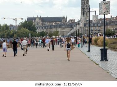 Bordeaux, France - September 9, 2018: A crowd of people on Quai de la Douane and Richelieu in  Bordeaux, France