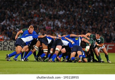 BORDEAUX, FRANCE-SEPTEMBER 09, 2007: irish palyers and namibian players pushing in a scrum, during the match Ireland vs Namibia, of the Rugby World Cup, France 2007, in Bordeaux.