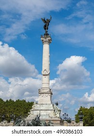 BORDEAUX, GIRONDE/FRANCE - SEPTEMBER 19 : Column with a Statue of Liberty Breaking Her Chains on Top of the Monument to the Girondins in Bordeaux on September 19, 2016