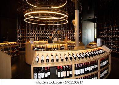 Bordeaux Nouvelle Aquitaine / France - 03 28 2019 : Cite du Vin Wine shop into wine museum in Bordeaux