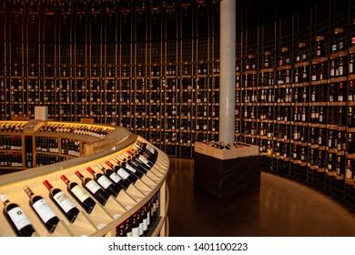 Bordeaux Nouvelle Aquitaine / France - 03 28 2019 : Cite du vin interior bottle shop into wine museum