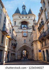 BORDEAUX,FRANCE - JUNE 2018: Amazing Gate Cailhau (Porte Cailhau) in the Bordeaux city, France. Bordeaux is the worlds major wine industry capital.