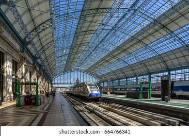 Bordeaux,France on 16th June 2016:Bordeaux-Saint-Jean or Bordeaux-Midi is the main railway station in Bordeaux. It is the southern terminus of the Paris–Bordeaux railway,