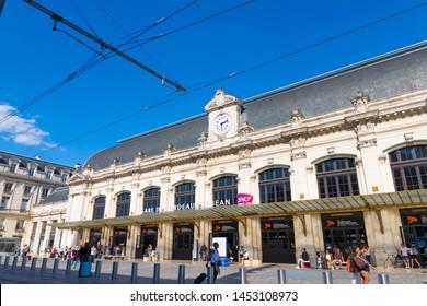 Bordeaux/France-06.06.2019 : Bordeaux St-Jean front entry train station