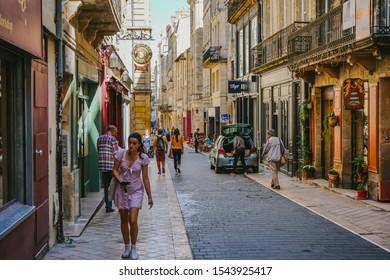 Bordeaux,Nouvelle-Aquitaine/France -September12  2019 : Beautiful shops and restaurants in Bordeaux - Belles boutiques et restaurants dans la vieille ville de Bordeaux