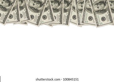 A border of American money isolated on white with copy space, Money Border of hundred dollar bills