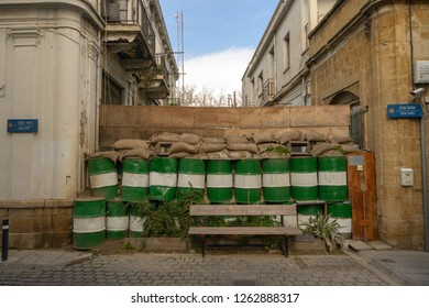 Border barriers between North and South Cyprus in Nicosia. View from Greek part of city. On anther site Turkish part of Nicosia. This is last border inside city in the European Union. Occupied Cypriot