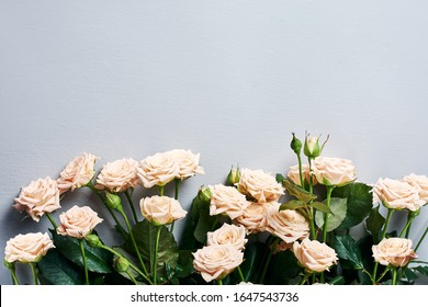 Border of beige roses flowers on a gray, blue background.