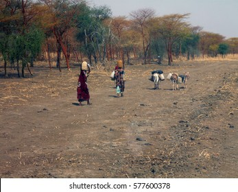 The border between North Sudan and South Sudan . Here, people live on the brink of survival. year 2014. Women are azhku water in earthen vessels