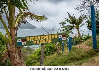 Border between Panama and Colombia - Bienvenidos Panama (Welcome Panam) sign -