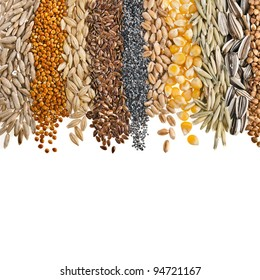 Border Collection of Cereal Grains and Seeds : Rye, Wheat, Barley, Oat, Sunflower, Corn, Flax, Poppy, Millet close up isolated on white