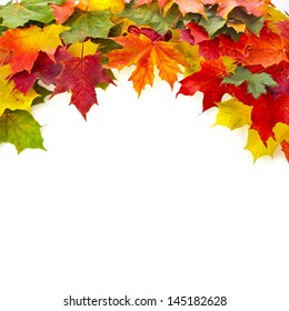 Border of colored falling maple leafs with copy space on white background