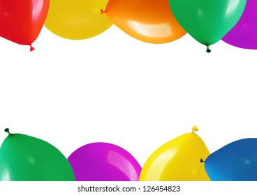 border colorful balloons on a white background
