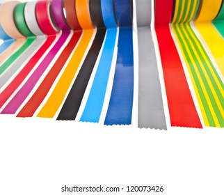 border of colourful insulating adhesive tape isolated on white background
