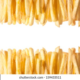 Border of crisp golden French Fries arranged in two rows along the top and bottom of the frame isolated on white with copyspace between