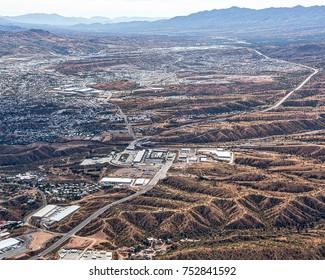 Border Crossing aerial view looking from Nogales, Arizona into Nogales, Mexico