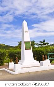 Border crossing french & dutch side St Maarten tropical island .