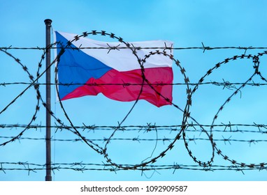 Border of Czech Republic and Czech Flag with barbed Wire