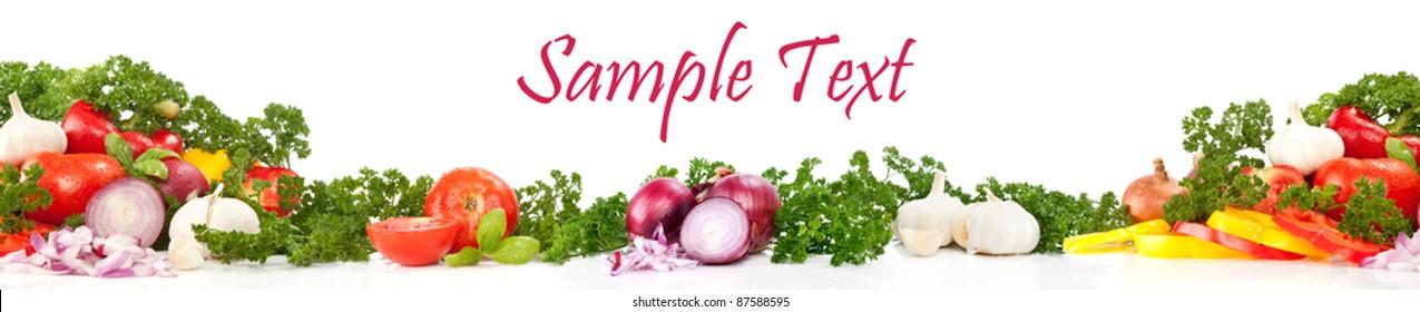 border design of fresh vegetables, isolated on white