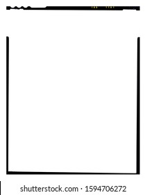 Border. Empty large format film template with copy space isolated on white background with work path inside the image.