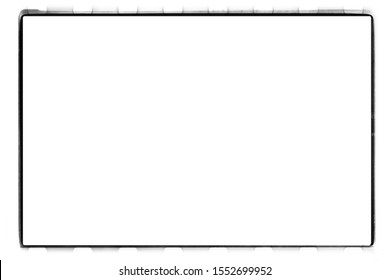 Border. Empty square medium format 24x36 mm black and white 135 type (35 mm) film template with copy space isolated on white background with work path inside the image.