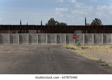 Border fence between USA and Mexico from the US side in Douglas, Arizona, on June 6, 2017
