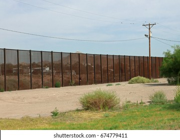 Border fence between USA and Mexico in El Paso, Texas, on July 4, 2017