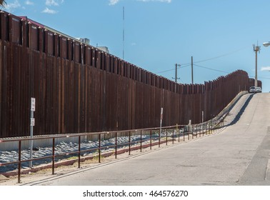Border fence separating the United States and Mexico at Nogales, Arizona