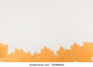 border frame of autumnal leaves isolated on white