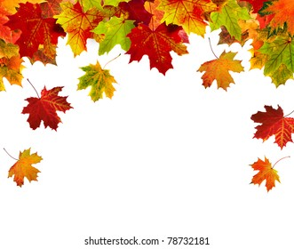 border frame of colorful autumn leaves isolated on white