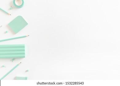 Border frame made of mint kit of stationery