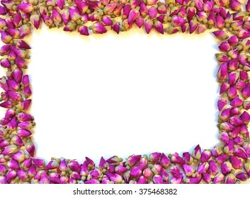 Border frame of romantic dried pink rose buds