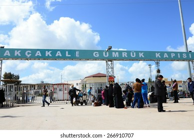 Border gate in Akcekale. On Syrian side of the border is area under Islamic state control. 31.3.2015 Akcakale, Turkey