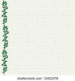Border of green illustrated leaves against green canvas background with space for text one sided