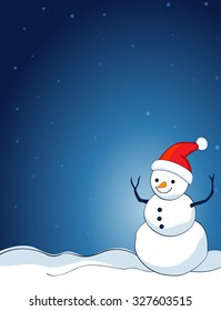 A border illustration featuring a smiling snowman with falling snow on clean blue background. snowman wearing red santa hat.