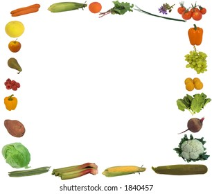 A border of lots of fresh food including fruit, vegetable / vegetables, and herbs all isolated against white