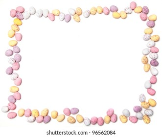 A border made of chocolate eggs