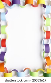 Border made from colourful paper chain against white background