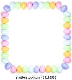 A Border Made Of Plastic Easter Egg Shells Isolated On White Background