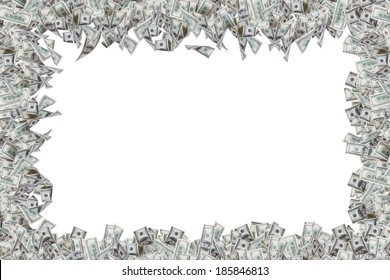 Border of one hundred dollar banknotes with copy space, isolated on white background.