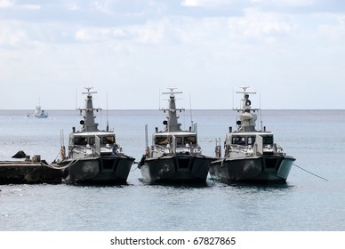 Border patrol cutters in a port