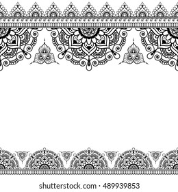 Border pattern elements with flowers and lace lines in Indian mehndi style for cards or tattoo isolated on black background.